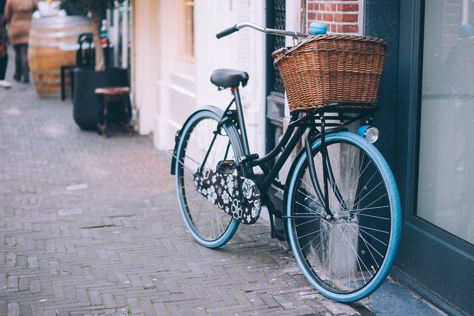 Bicycle, Bike, Parked, Basket, Bell, Cycle, Outdoors